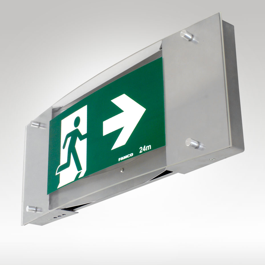 Premium led exit famco for Exterior emergency exit lights