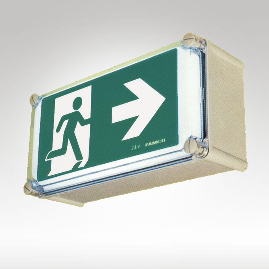Weatherproof exit sign led famco for Exterior emergency exit lights